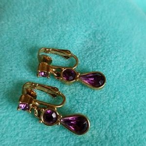 CLIP-ON earrings PURPLE RHINESTONE Dangles